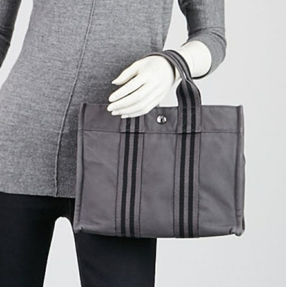 HERMES Grey Black Canvas Fourre Tout PM Tote Bag 20aa88f775